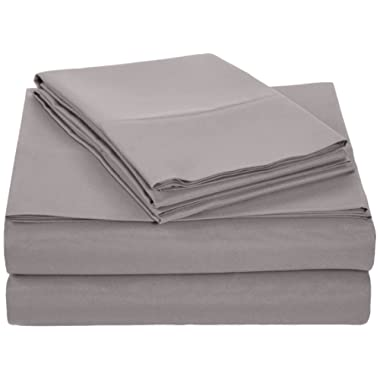 AmazonBasics Microfiber Sheet Set - Queen, Dark Grey, Ultra-Soft, Breathable
