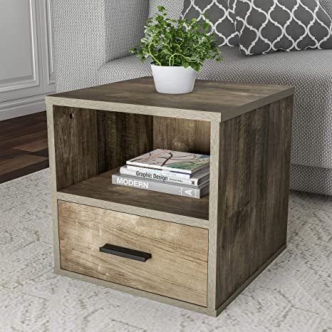 reputable site b57ec 35ac8 Lavish Home 80-MOD-9 End Stackable Contemporary Minimalist Modular Cube  Accent Table with Drawer for Bedroom, Living Room or Office (Gray),