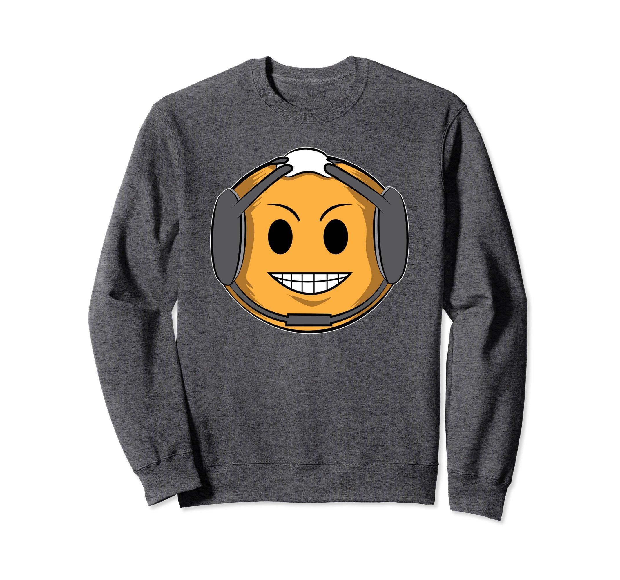 Unisex Wrestling Sweatshirt - Emoji Sweater - Wrestling Headgear Large Dark Heather