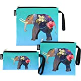 QOGiR Reusable Snack Bags and Sandwich Bags with Handle: Lead-free,BPA-free,PVC-free,FDA PASSED (Colorful Elephant)