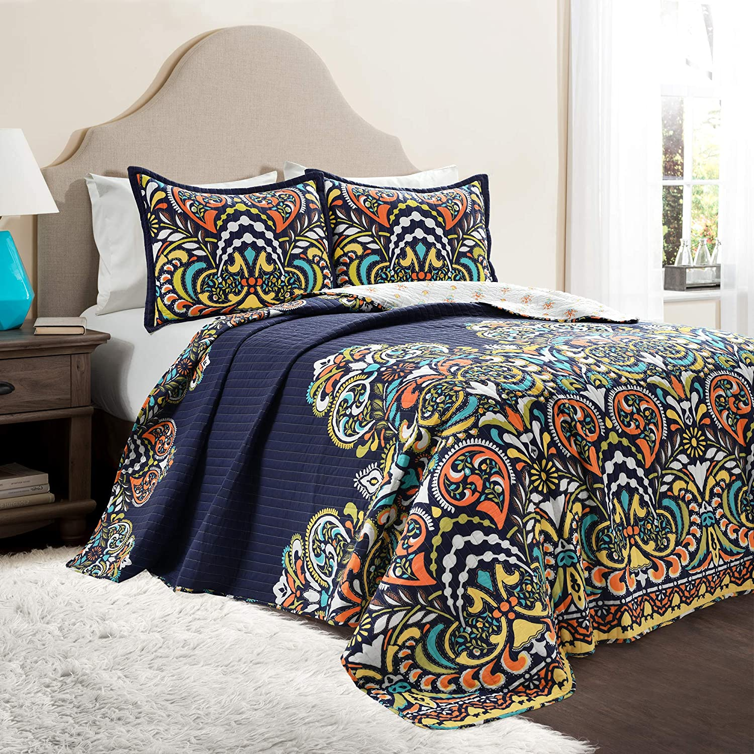 Lush Decor Clara Quilt 3 Piece Reversible Bedding Set, King, Navy