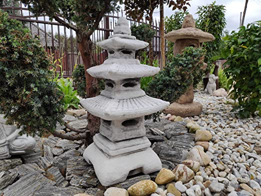 Estatua de adorno de jardín: piedra de tres niveles, linterna japonesa / pagoda: Amazon.es: Jardín