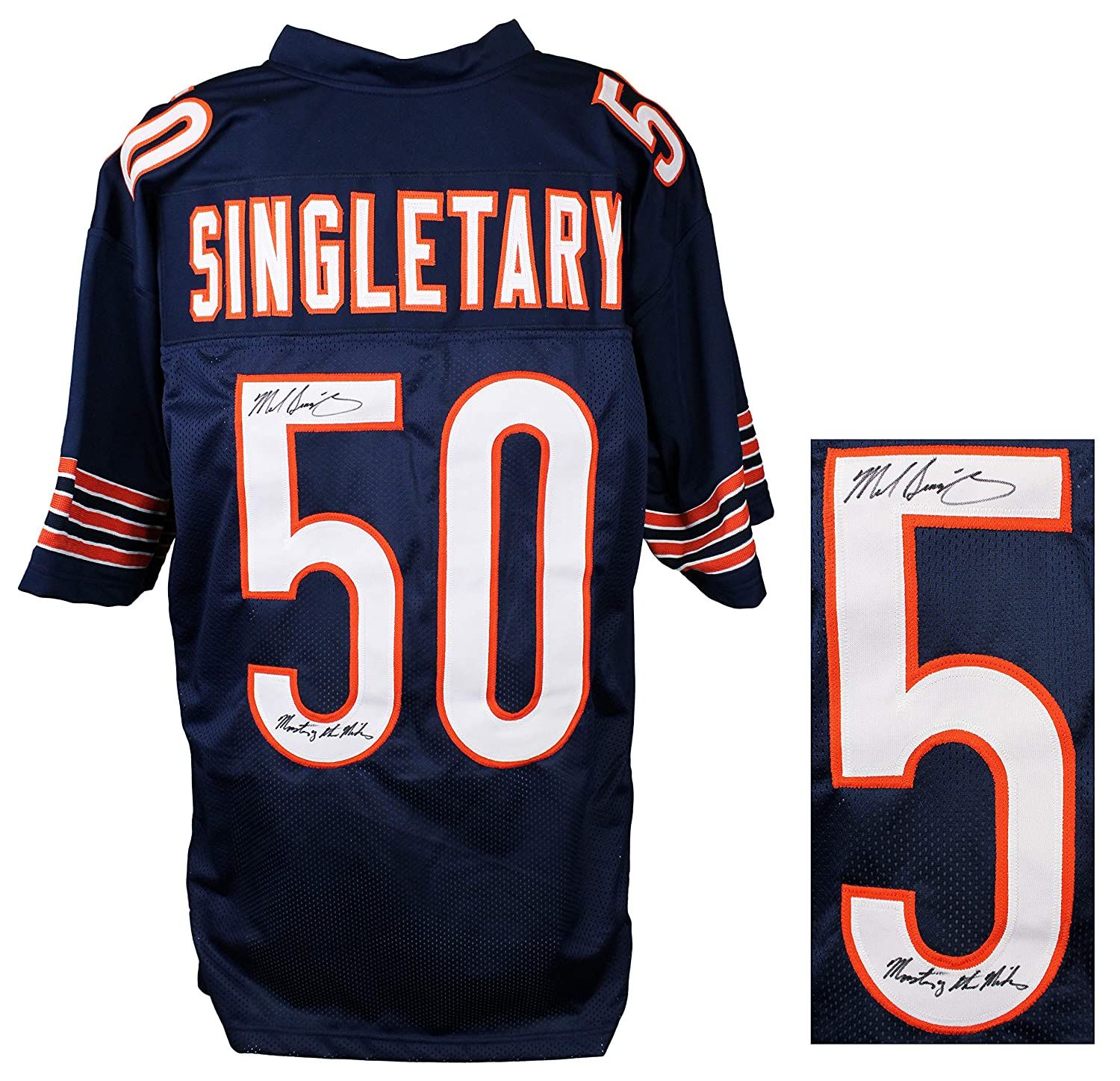 0038a55fc74 Mike Singletary Signed Navy Custom Throwback Jersey w/Monsters of the  Midway at Amazon's Sports Collectibles Store