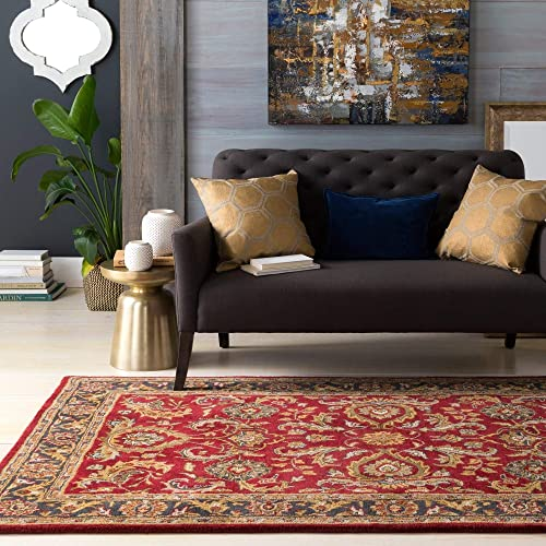 MISC Colonial Home Red Traditional Oriental Handmade Area Rug – 4 X 6 Rectangle Wool Latex Free