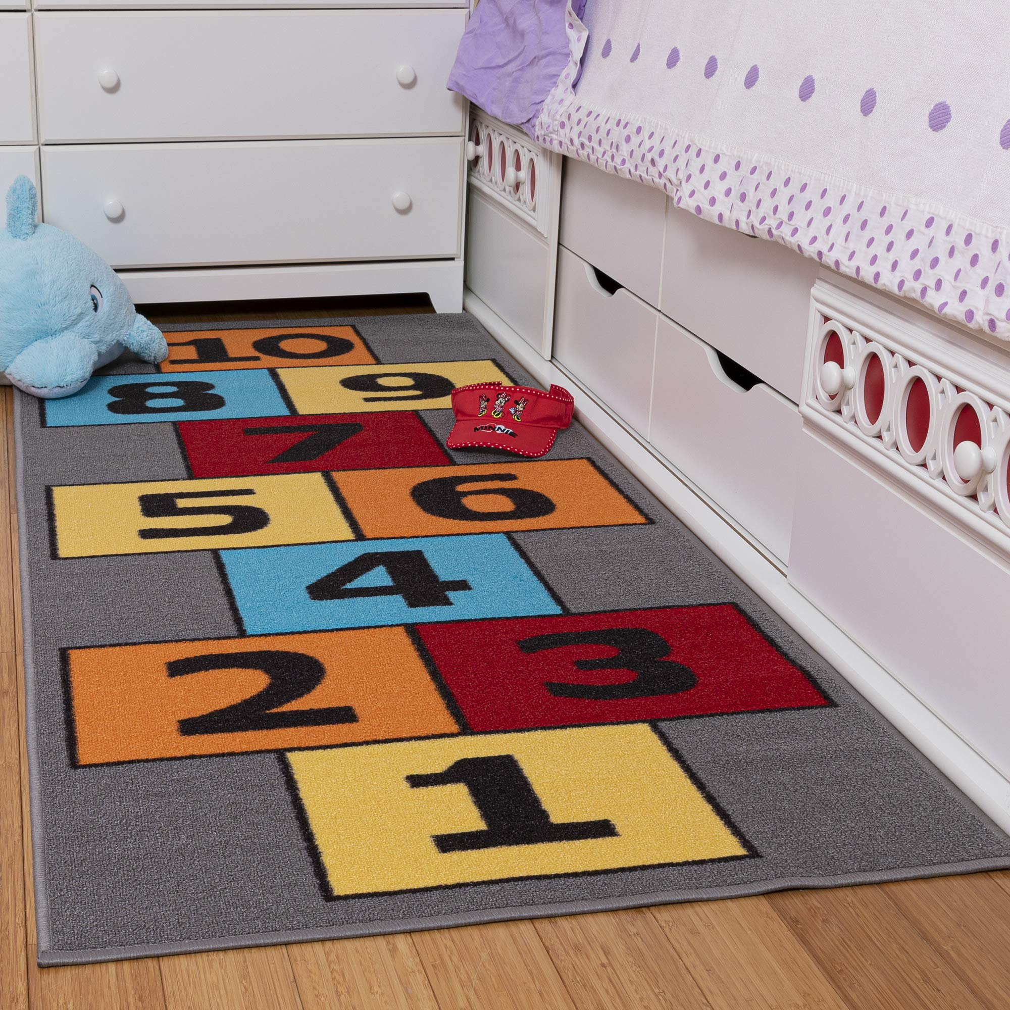 Ottomanson CG1233-3X6 Children's Garden Collection Educational Hopscotch Design, 2'7'' X 6'0'', Gray by Ottomanson