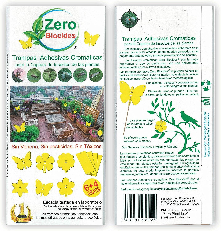 Zero Biocides 10 Trampas Adhesivas Cromáticas para la Captura de Insectos de Las Plantas Fabricadas en España: Amazon.es: Jardín