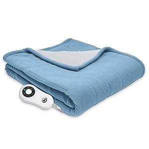 Serta | | Reversible Sherpa/Fleece Heated Electric Throw Blanket, Slate Blue
