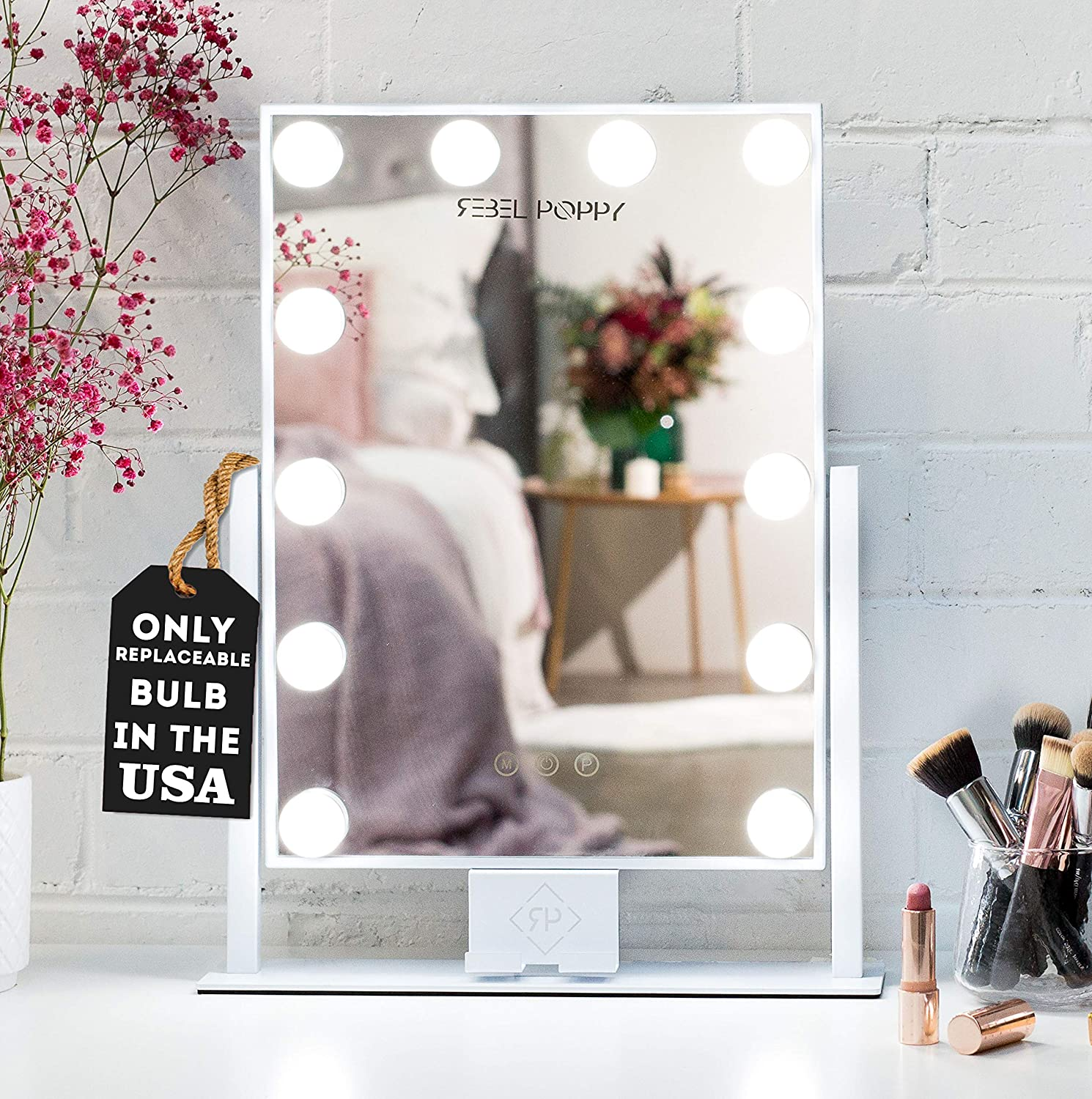 """REBEL POPPY Vanity Mirrors with LED Lights - Phone Mount, 3 Lighting Touch Control, 18.5"""" x 14.8"""", Fogless - Hollywood Lighted Makeup Mirror - White"""