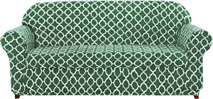 subrtex Sofa Slipcovers Arm Chair Stretch Couch Settee Slip Protector 2-Piece Spandex Printing Sleeper Furniture Cover Home Decor for LivingRoom(Loveseat,Greyish Green)