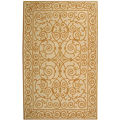 Safavieh Chelsea Collection HK11P Hand-Hooked Ivory and Gold Premium Wool Area Rug 6 x 9