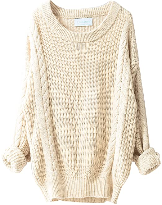 d8c2824381b LONGMING Women s Cashmere Oversized Loose Knitted Crew Neck Long Sleeve  Winter Warm Wool Pullover Long Sweater