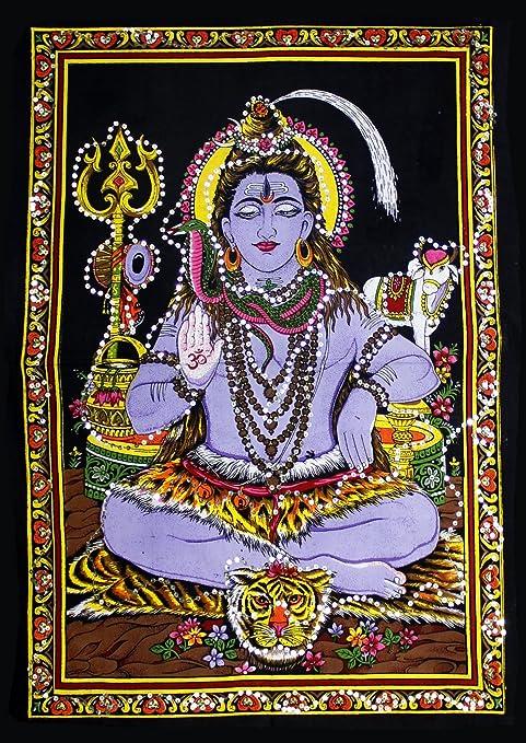 Krishna Mart India Lord Shiva Meditation Yoga Sequin Cotton Wall Hanging 22