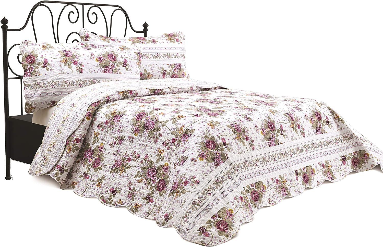 Chiara Rose 3 Piece Reversible Quilt Set Bedspread Coverlet Lightweight Comforter Full Queen Fstvl