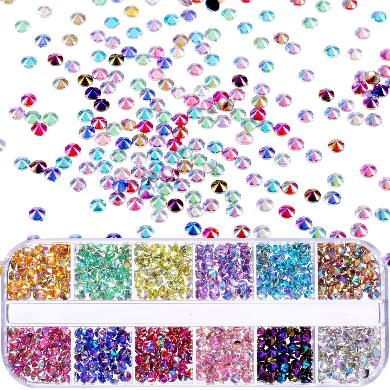 1200 Pieces Shiny Nail Art Rhinestones 12 Colors with Box Clear AB Nail Gems Flat Back Nail Decorations for Nail Art Supplies TecUnite 4336855554