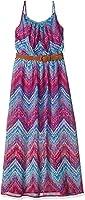 Amy Byer Big Girls' Print HMC Maxi Dress With Belt-Best Selling Body