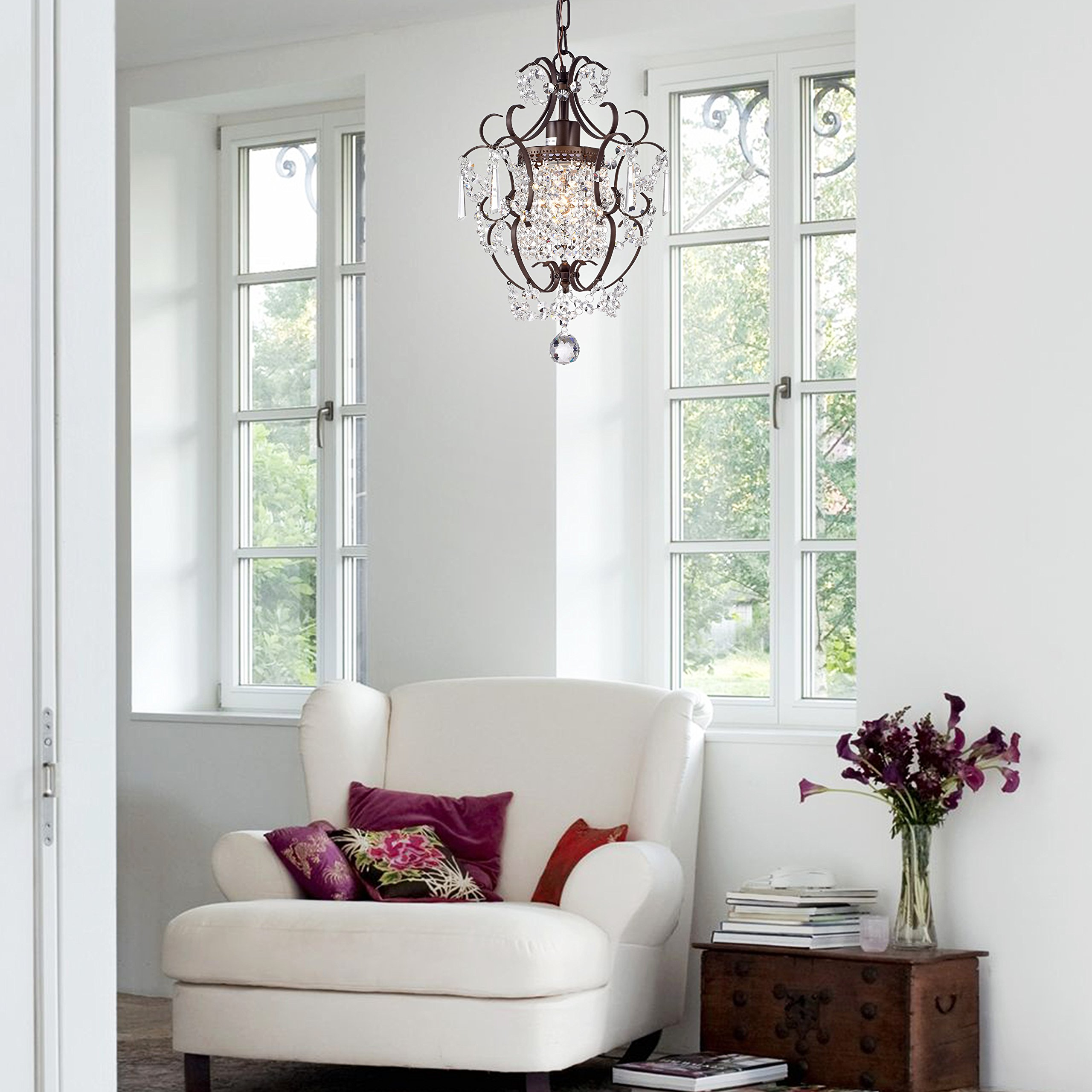 Crystal Chandelier Lighting Bronze Chandeliers 1 Light Iron Ceiling Light Fixture 17011 by LaLuLa (Image #7)