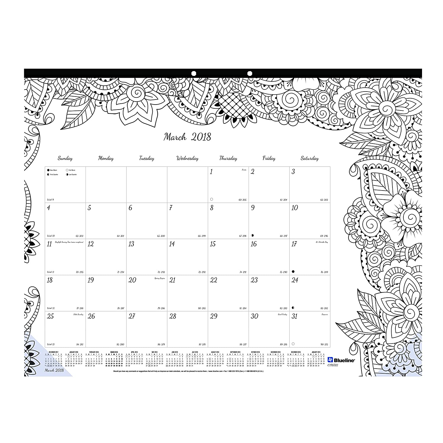 blueline 2019 doodleplan monthly coloring desk pad calendar botanica designs january to december