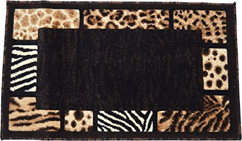 Animal Skin Prints Patchwork Leopard Zebra Border Door Mat Rugs 4 Less Collection Area Rug R4L 73 2 X3 4