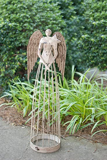 Amazoncom Attraction Design Antiqued Metal Garden Angel 255
