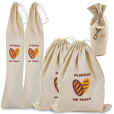 Amazon.com: The Bread Bags – Pack de 4 bolsas de pan de lino ...
