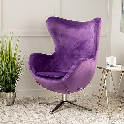 Incroyable Glendon Arne Jacobsen Style New Velvet Swivel Contour Egg Chair