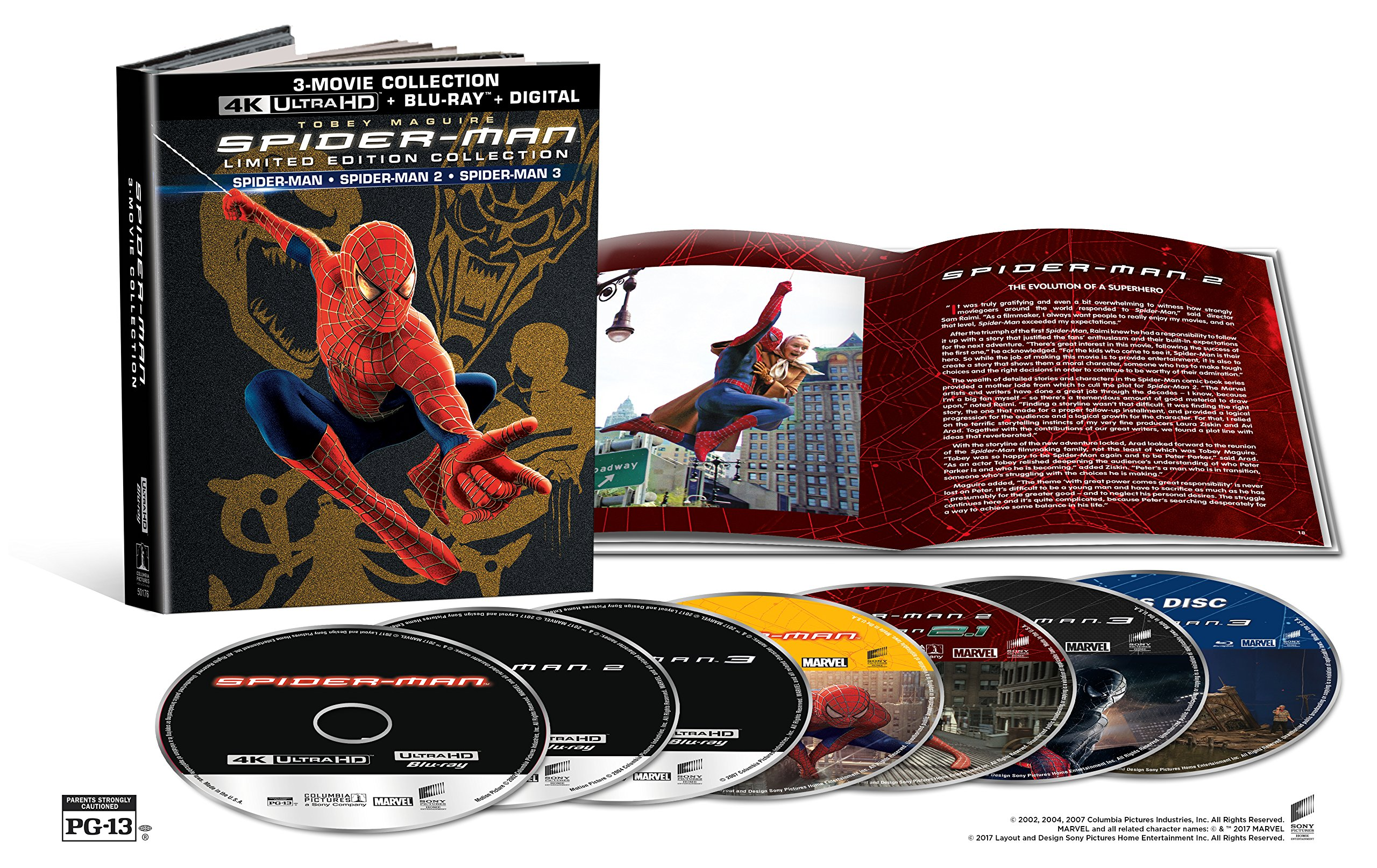 4K Blu-ray : Spider-Man (2002) / Spider-Man 2 (2004) / Spider-Man 3 (2007) (Limited Edition, With Blu-Ray, Boxed Set, Ultraviolet Digital Copy, 4K Mastering)