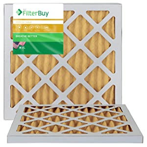 FilterBuy 14x18x1 MERV 11 Pleated AC Furnace Air Filter, (Pack of 2 Filters), 14x18x1 – Gold