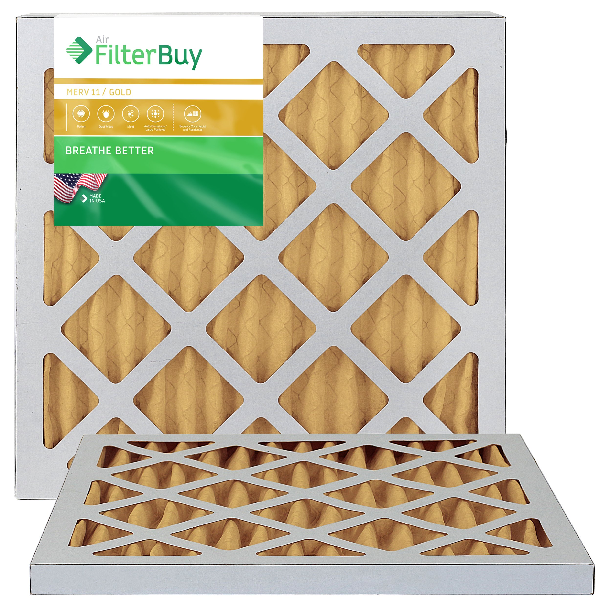 FilterBuy 12x12x1 MERV 11 Pleated AC Furnace Air Filter, (Pack of 2 Filters), 12x12x1 – Gold