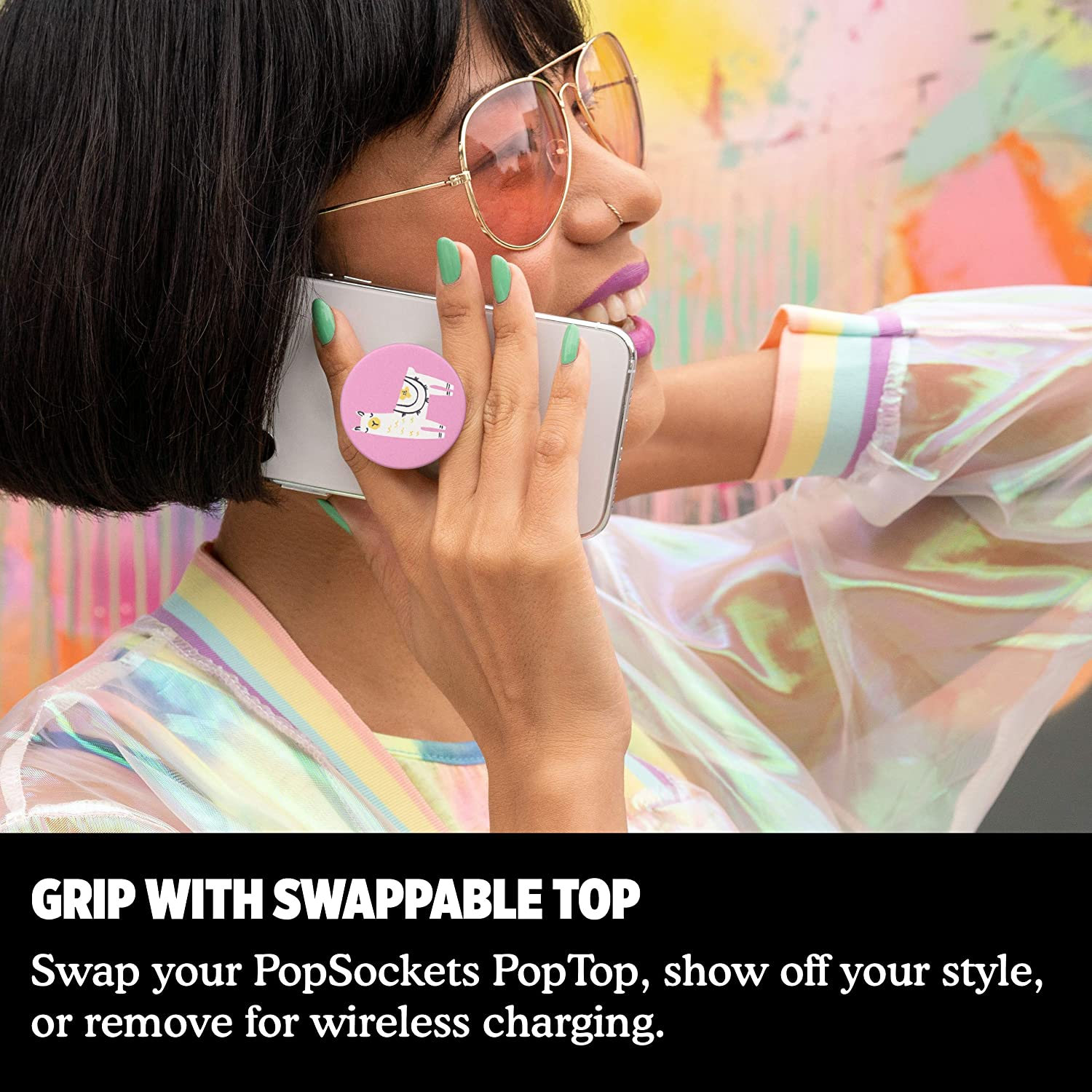 PopGrip with Swappable Top for Phones /& Tablets PopSockets Llama Glama