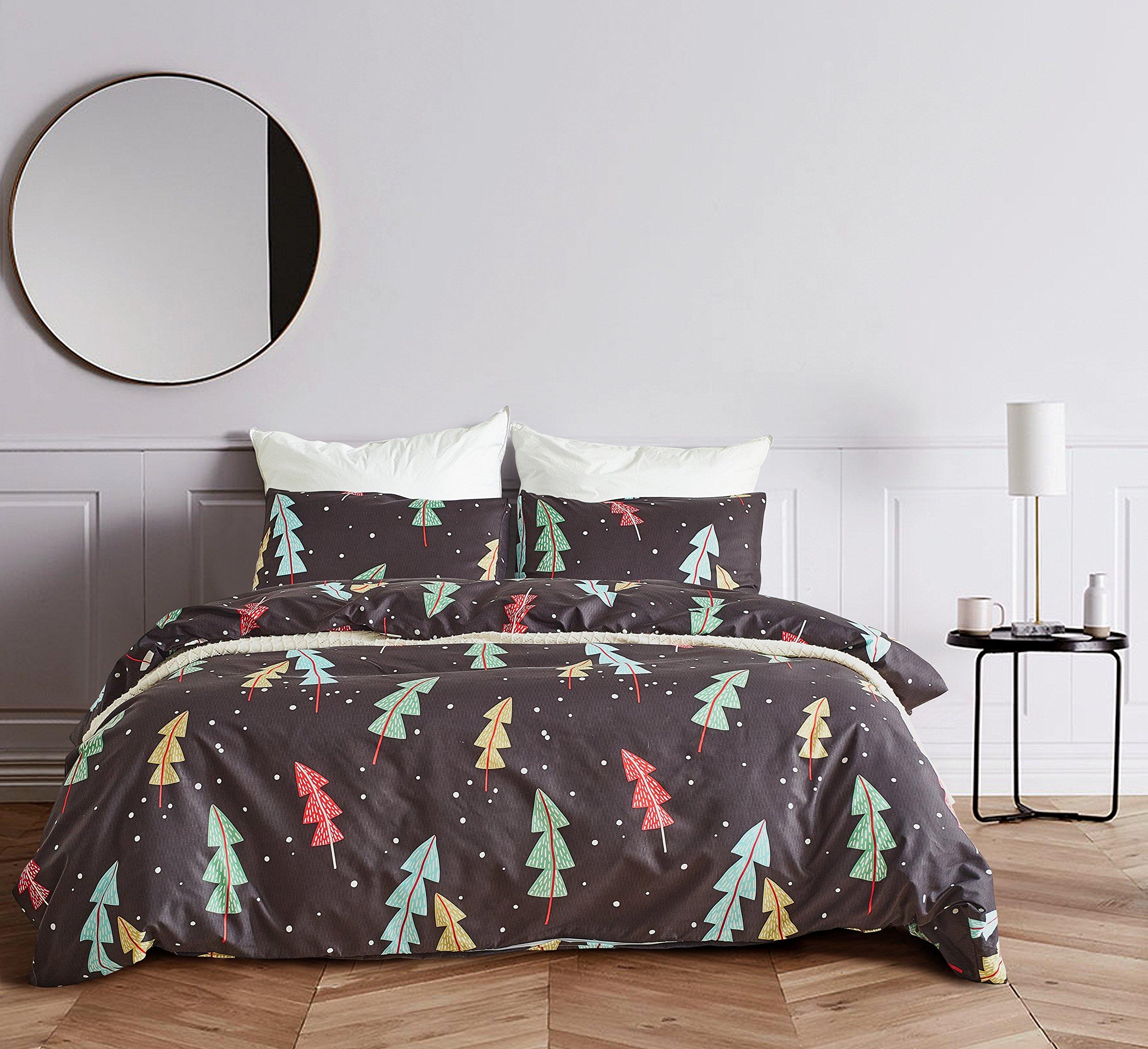 EIGOAL Duvet Cover Set Forest Printed Comforter Cover with Zipper Closure Kids Bedding Set Soft Lightweight Microfiber Twin/Queen/King Size
