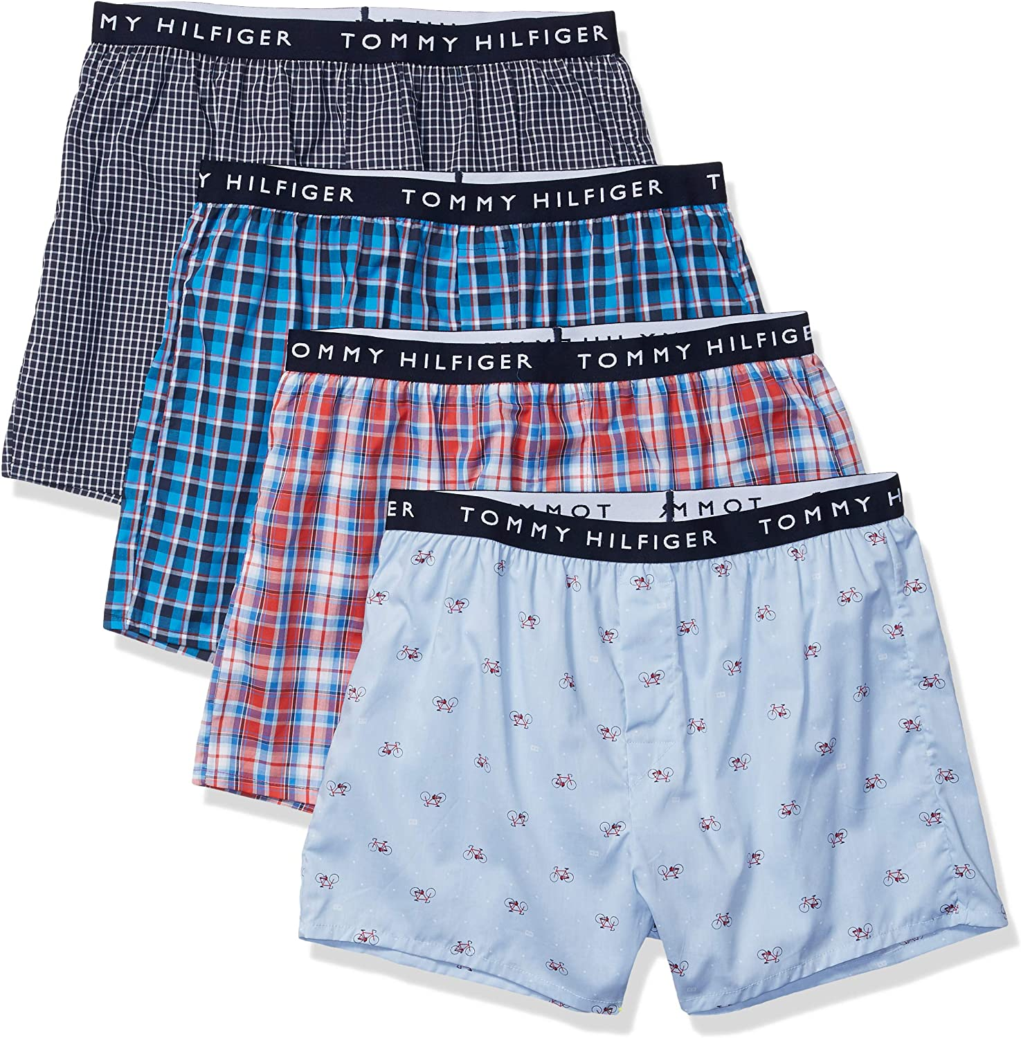 Tommy Hilfiger Mens Underwear Cotton 4 Pack Woven Boxers