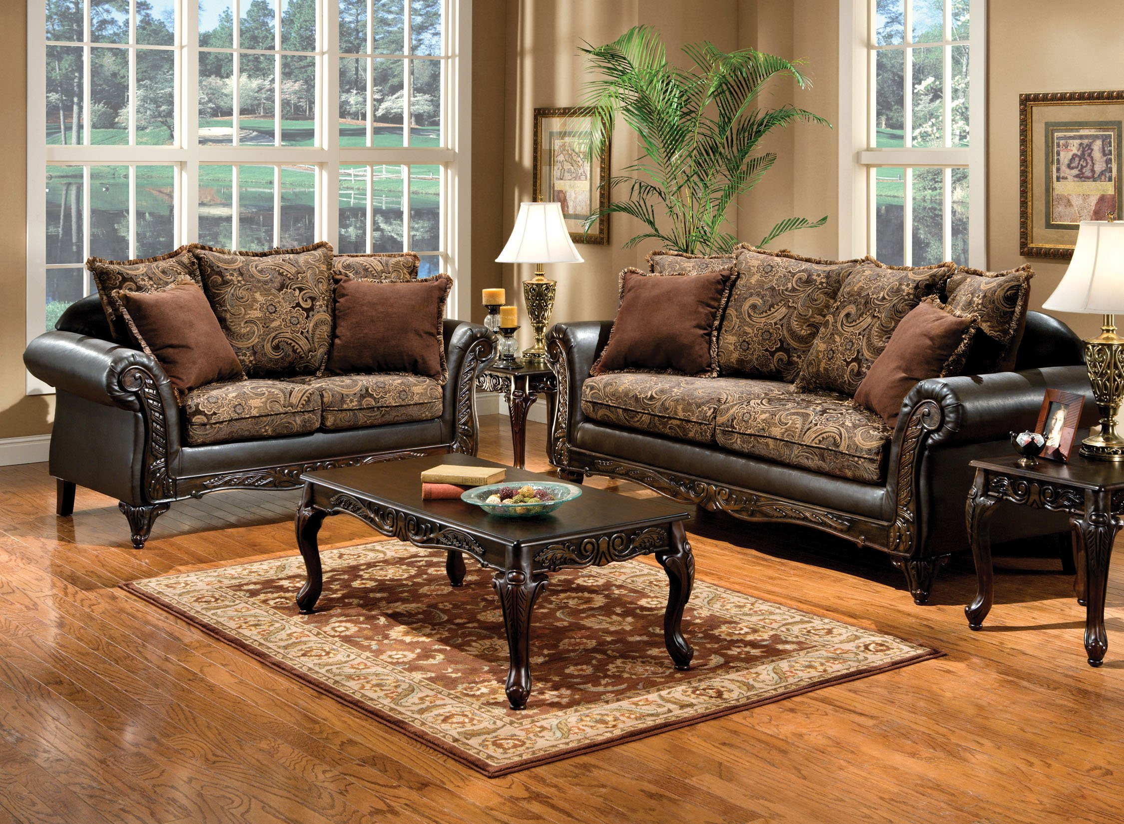 Furniture of America Inigo 2-Piece Fabric and Leatherette Sofa Set with Accent Pillows and Wood Trim, Dark Brown Floral Print by Furniture of America (Image #2)