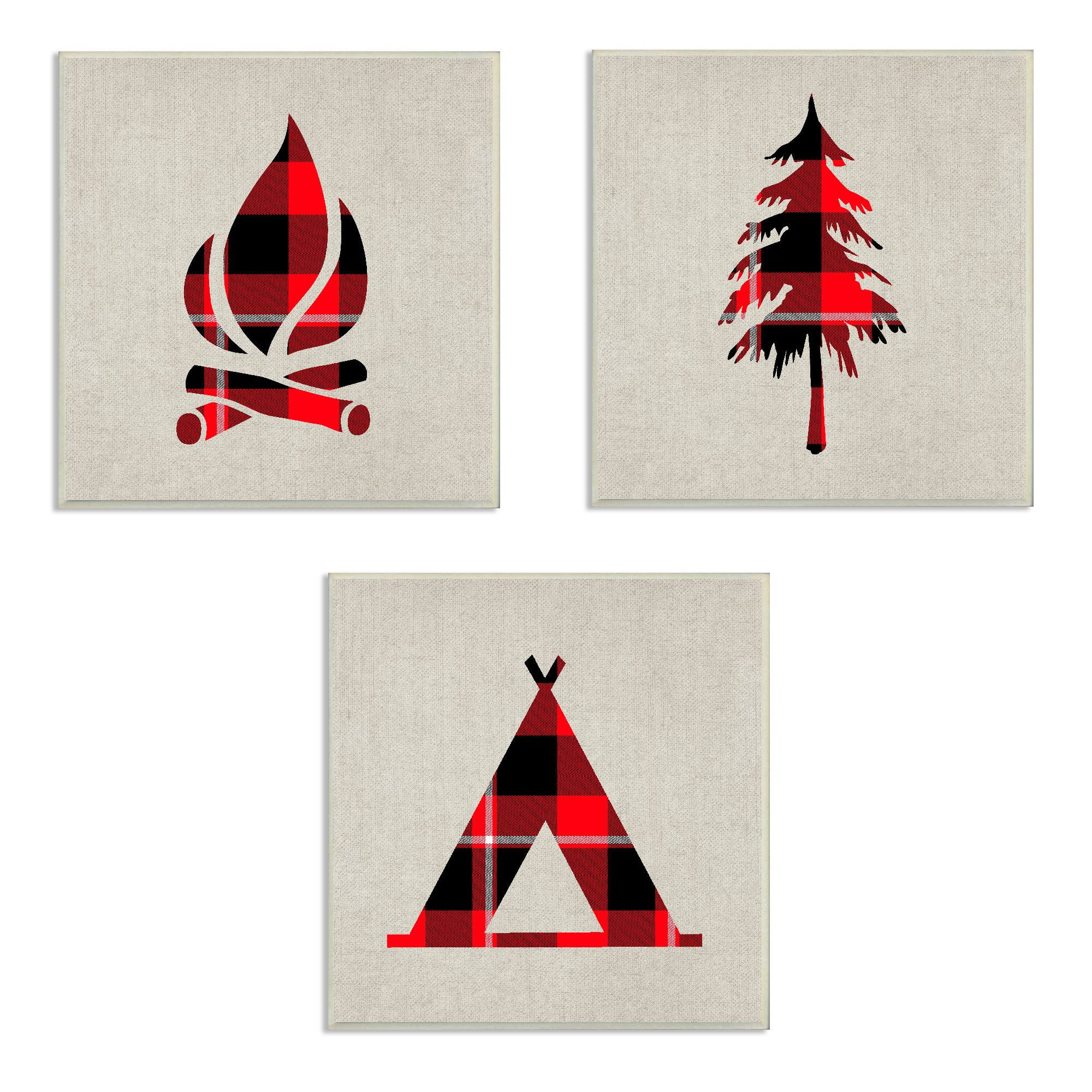 The Kids Room by Stupell Burlap Camping Buffalo Plaid 3pc Wall Plaque Art Set, Proudly Made in USA by The Kids Room by Stupell