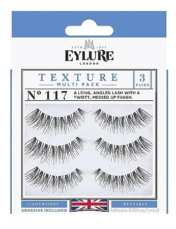 c1c6d8054d8 Amazon.com : Eylure Texture False Lash, Style No. 117, Reusable, Adhesive  Included, 3 Pair : Beauty