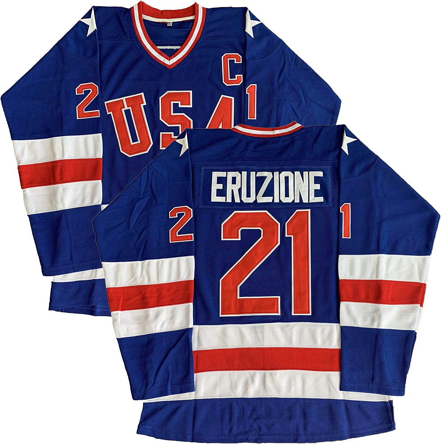 #21 Mike Eruzione 1980 Miracle On Ice USA Hockey 17 Jack O'Callahan 30 Jim Craig Stitched Hockey Jerseys (21 Blue, Large)