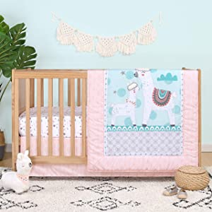 The Peanutshell Llama Love Crib Bedding Sets for Baby Girls | 3 Piece Nursery Set | Crib Comforter, Fitted Crib Sheet, Crib Skirt Included