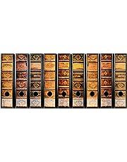 codiarts Juego 9 pieza ancho etiquetas de carpetas – Antiguos libros piel bände Vintage – autoadhesiva
