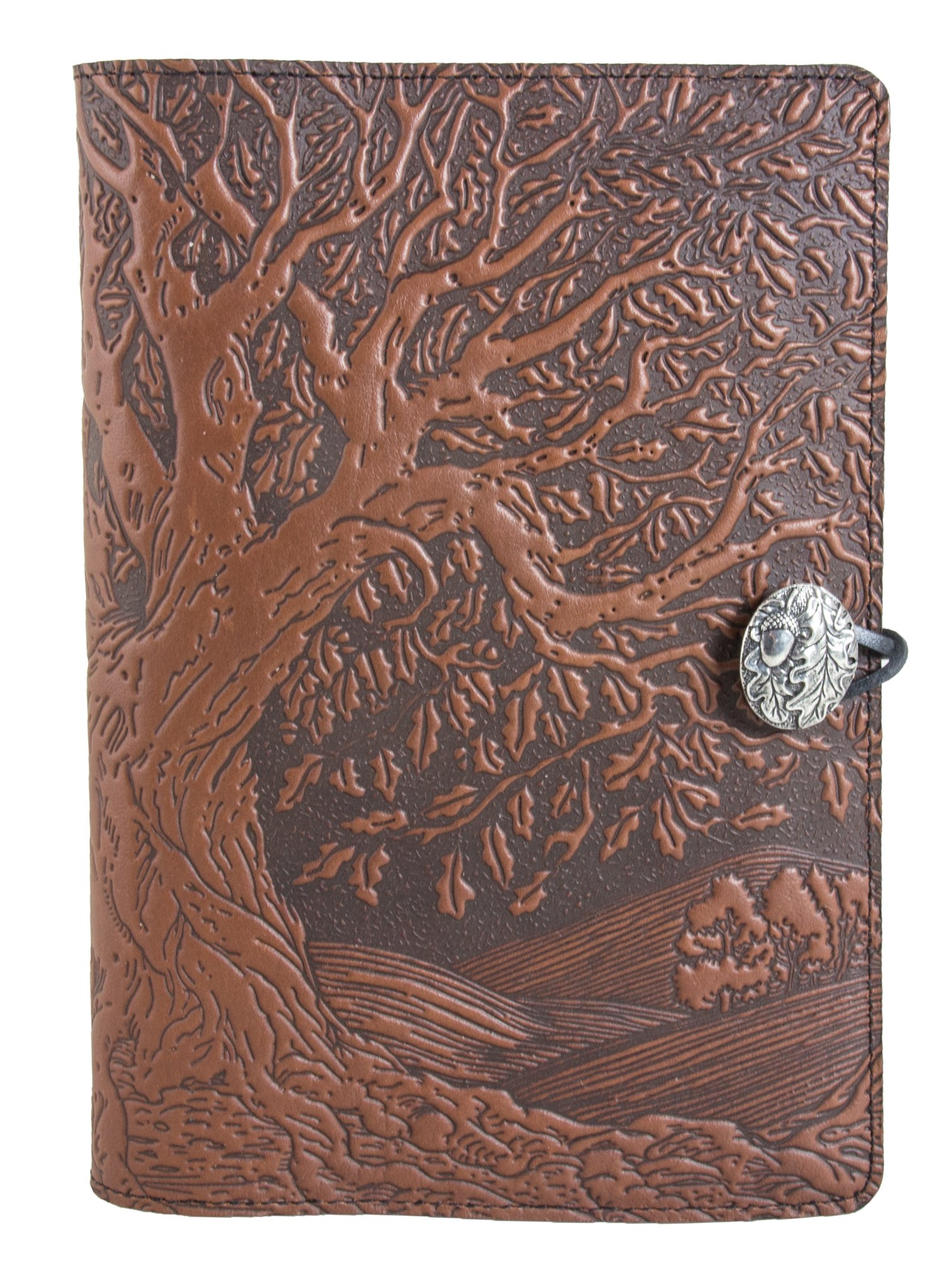Genuine Leather Refillable Journal Cover with a Hardbound Blank Insert, 6x9 Inches, Tree of Life, Saddle with a Pewter Button, Made in the USA by Oberon Design by Oberon Design (Image #3)