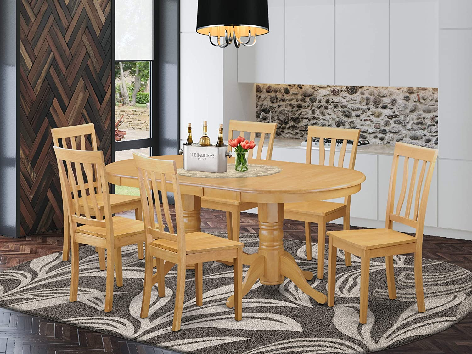 Amazon Com 7 Pc Dinette Set Kitchen Dinette Table And 6 Kitchen Chairs Table Chair Sets