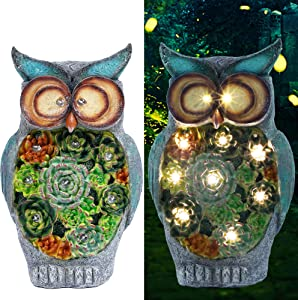 Prsildan Garden Owl Statue, Solar Powered 10 LED Lights, Ornaments for Yard, Lawn, Spring, Easter, Indoor Outdoor Decorations, 10 X 6 Inches