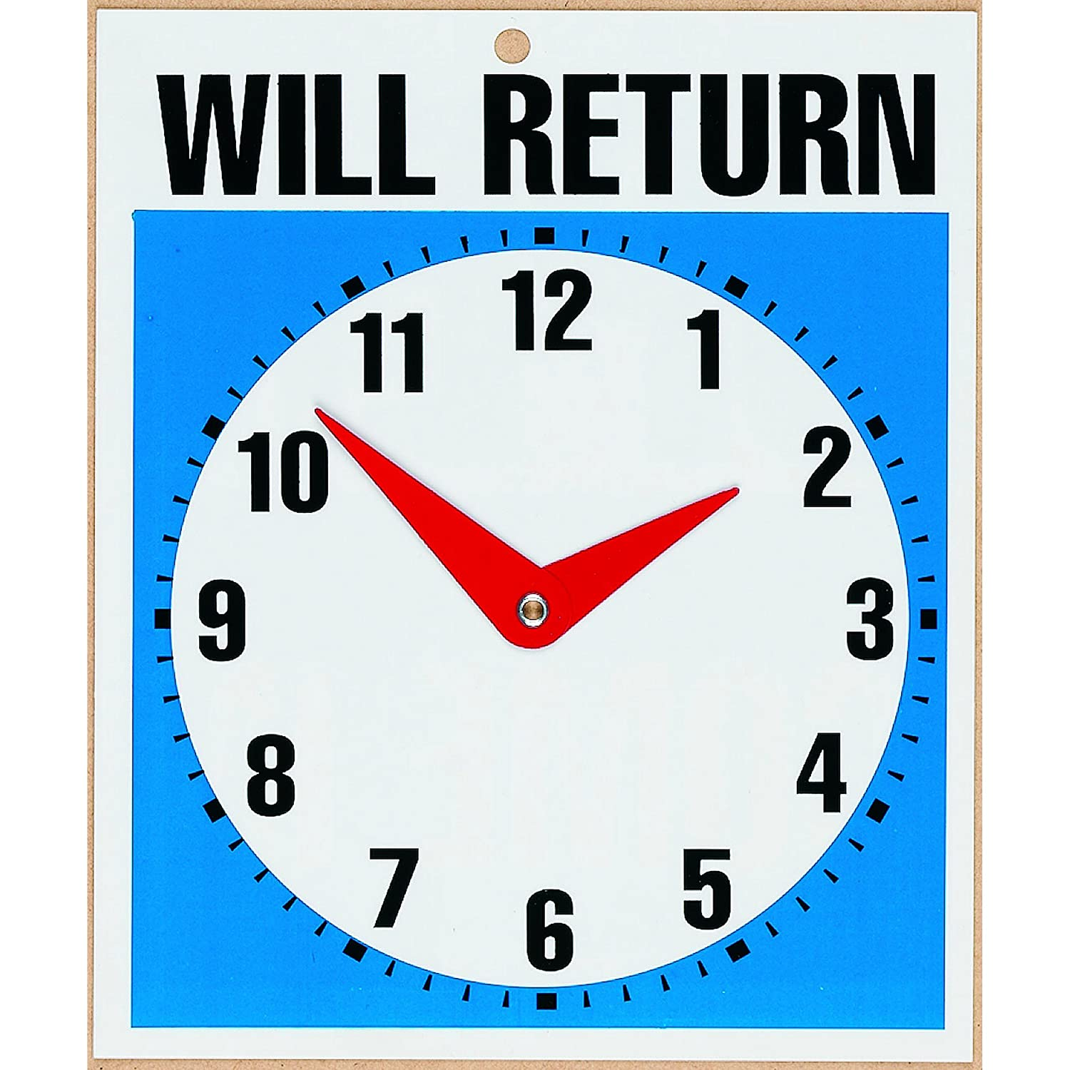 Headline Sign 9382 Double-Sided Open/Will Return Sign with Clock Hands, 7.5 Inches by 9 Inches P9382