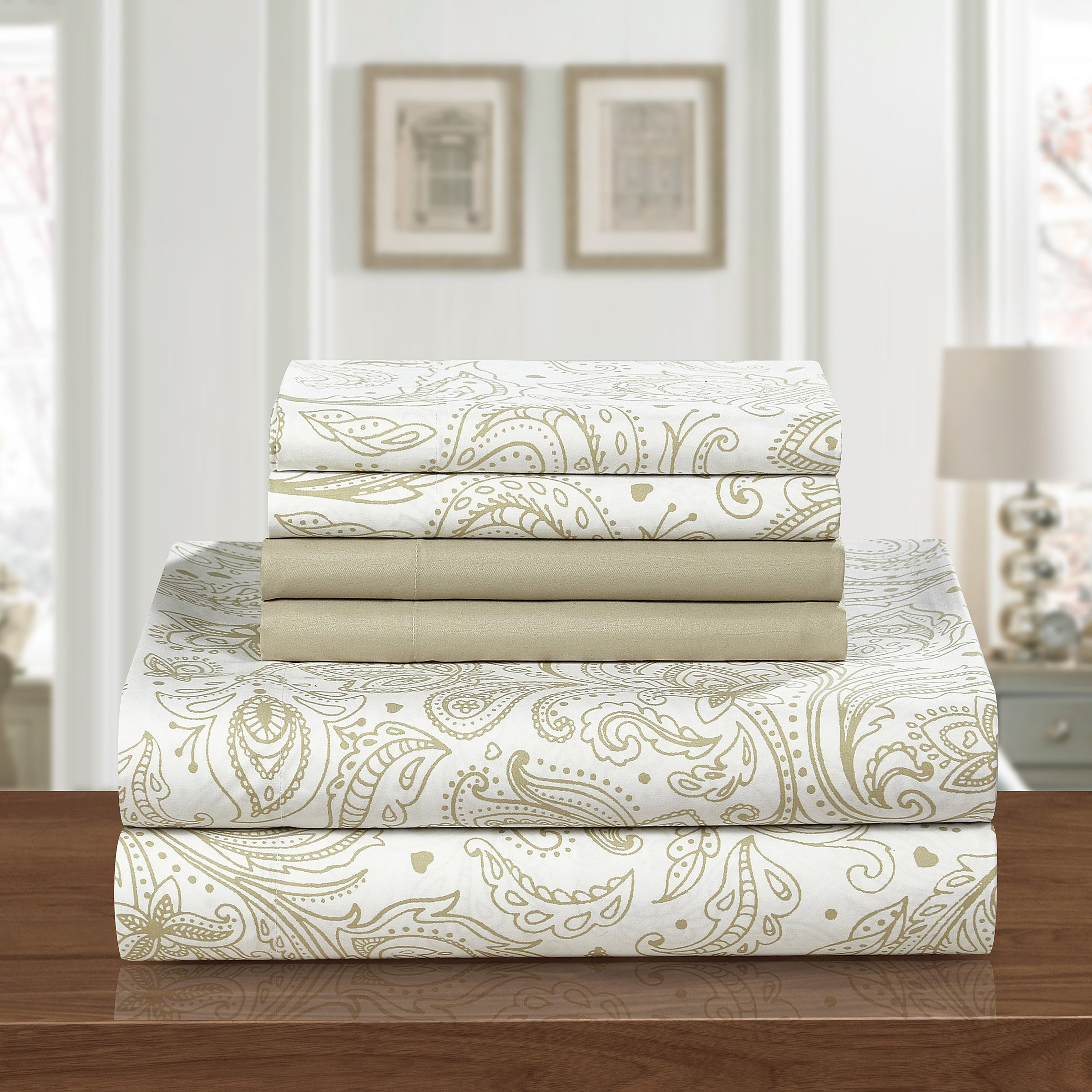 Chic Home SS3706-AN Welford 4 Piece Microfiber Vintage Paisley Sheets, Twin, Tan