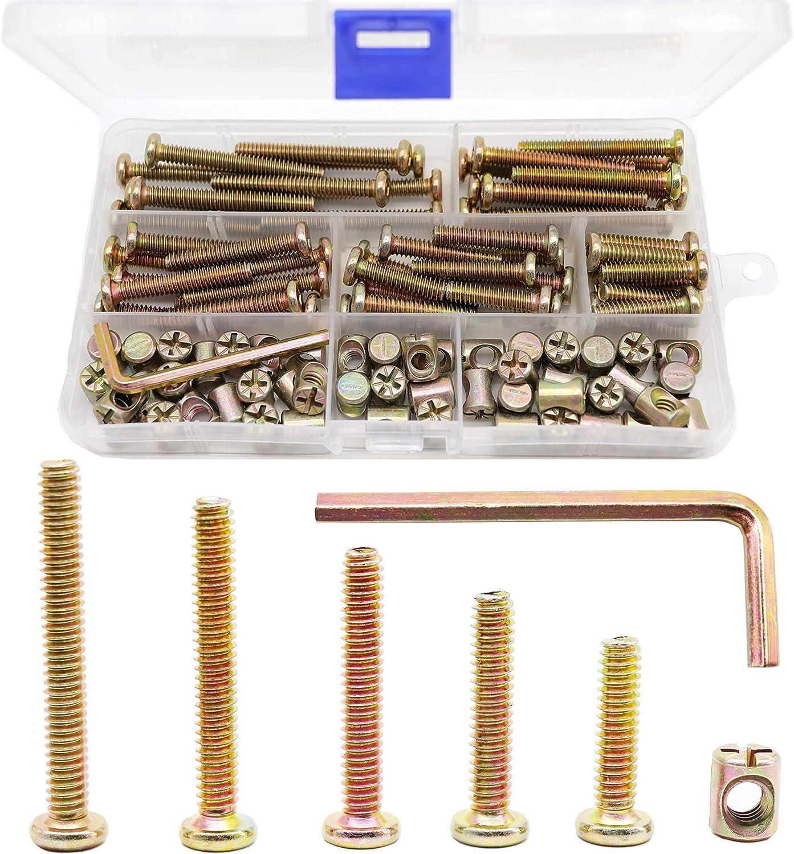 "binifimux 100pcs 1/4-20"" Zinc Plated Hex Socket Cap Bolts Barrel Nuts Assortment Kit for Crib Baby Bed Cots Chairs"
