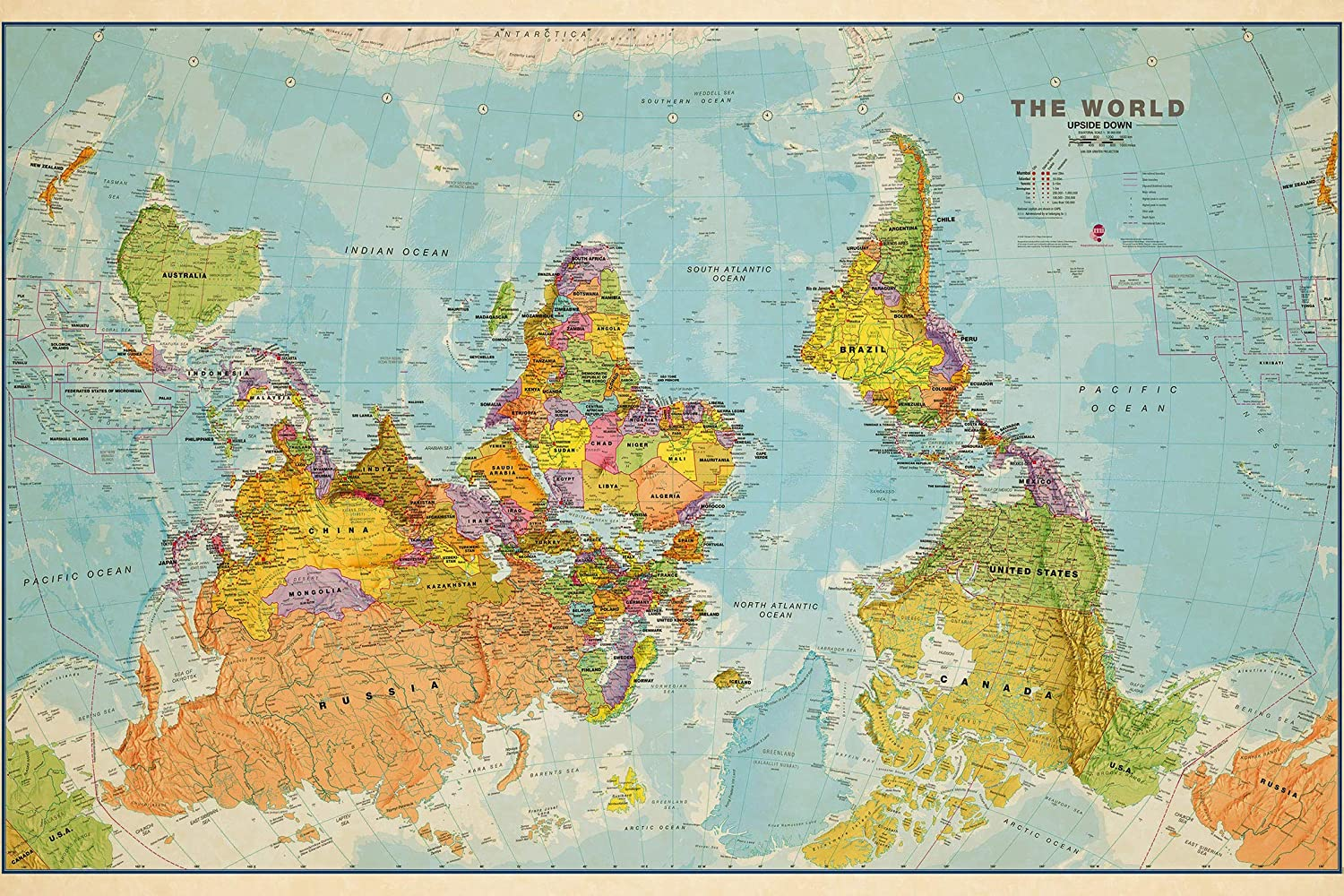 Vintage and Rare maps :: Upside Down Political World Map Poster