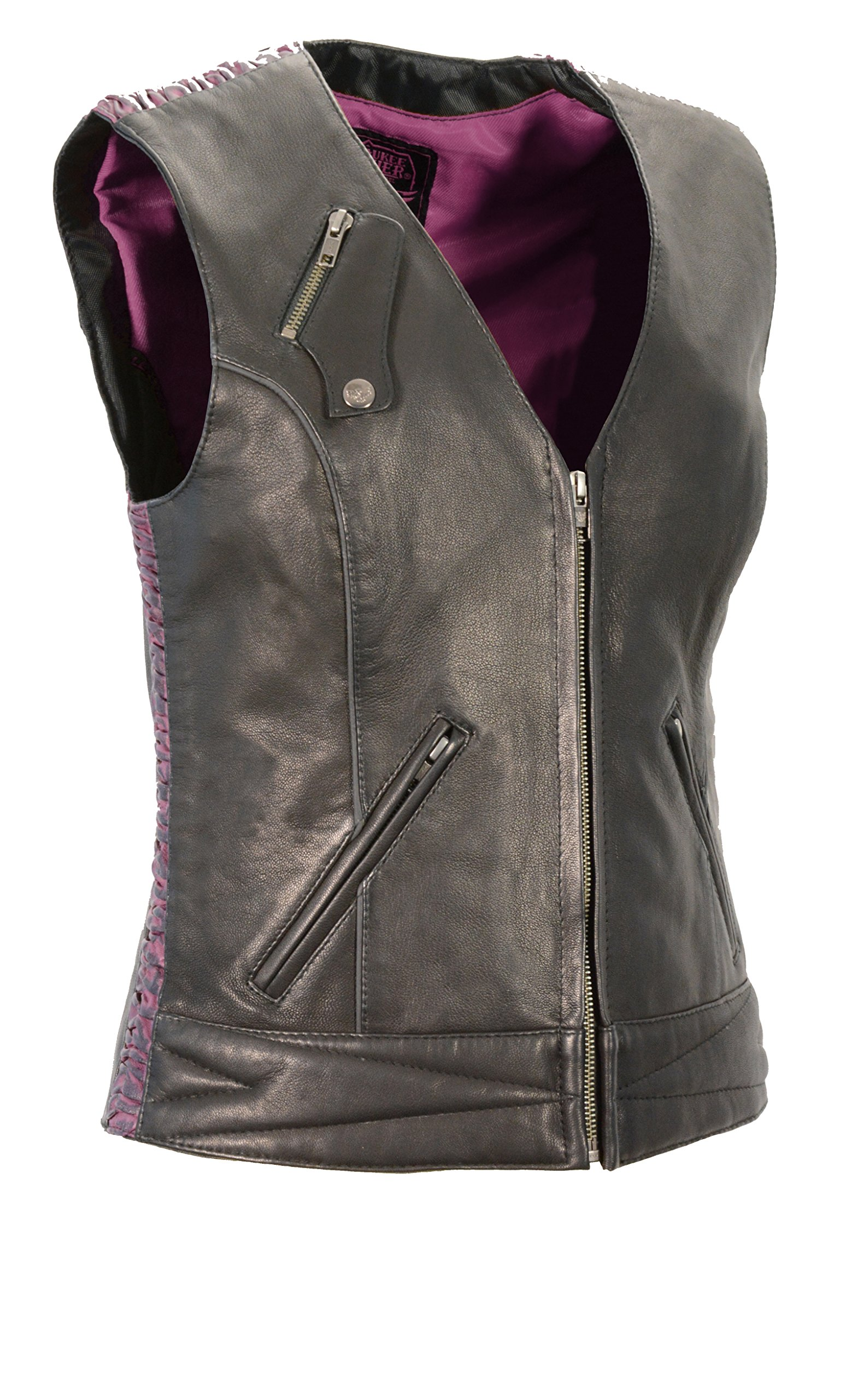 Milwaukee Leather Women's Lightweight Snap Front Vest with Crinkle Detailing (Medium, Black/Purple)