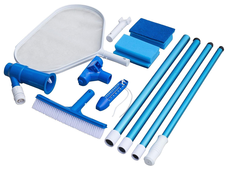 Steinbach - Juego de accesorios básicos para la limpieza de piscinas (aspiradora para el suelo de la piscina, palo telescópico de 2 m de 4 piezas, ...