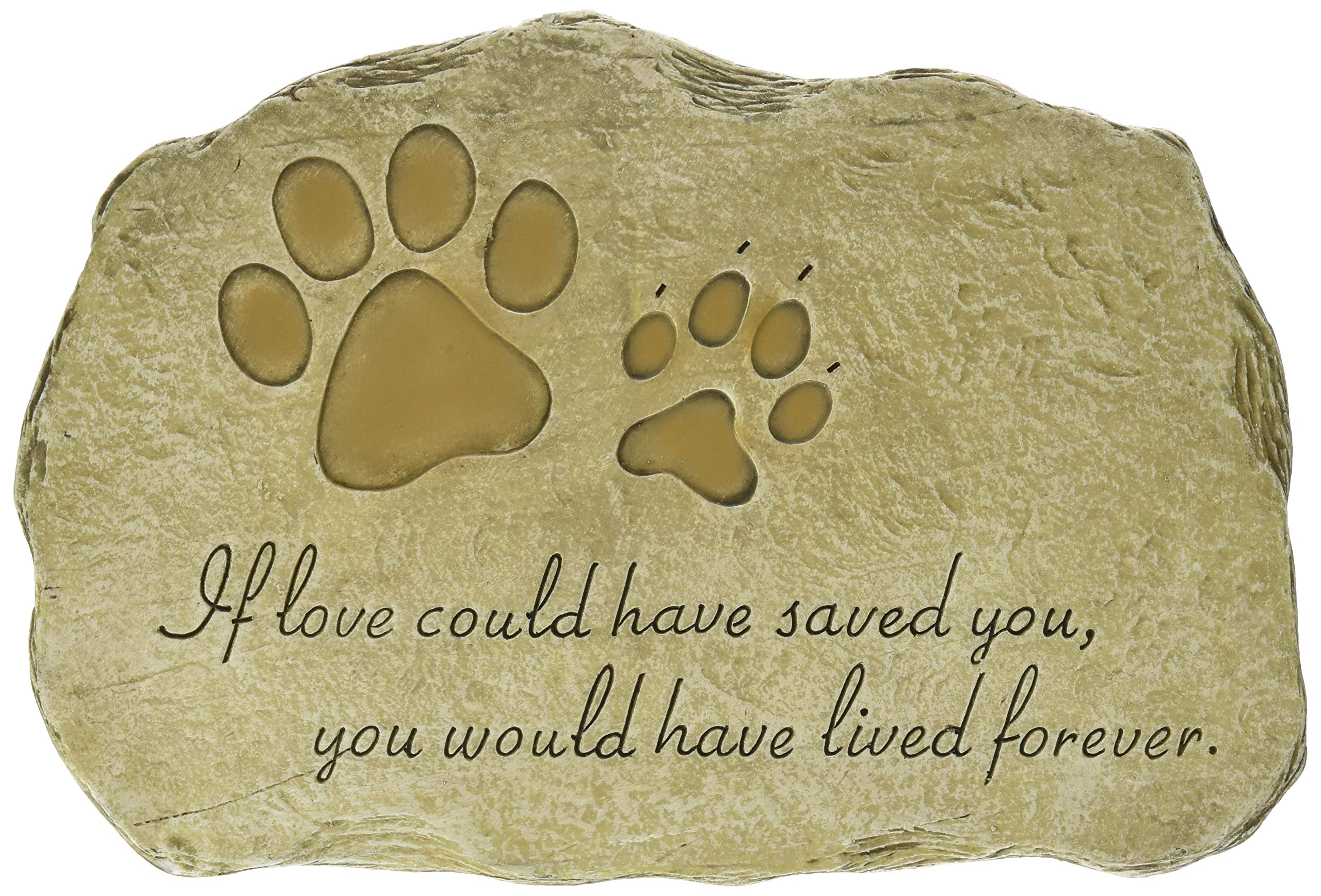 """Evergreen Garden Pet Paw Print Devotion Painted Polystone Stepping Stone - 12""""W x 0.5""""D x 7.5""""H product image"""
