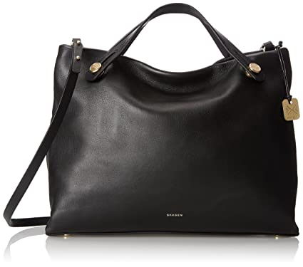 Amazon.com: Skagen Mikkeline Satchel Shoulder Bag, Black, One Size ...