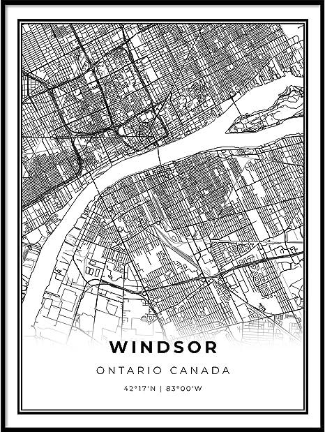 Street Map Of Windsor Ontario Canada Amazon.com: Windsor Map Print, Ontario ON Canada Map Art Poster