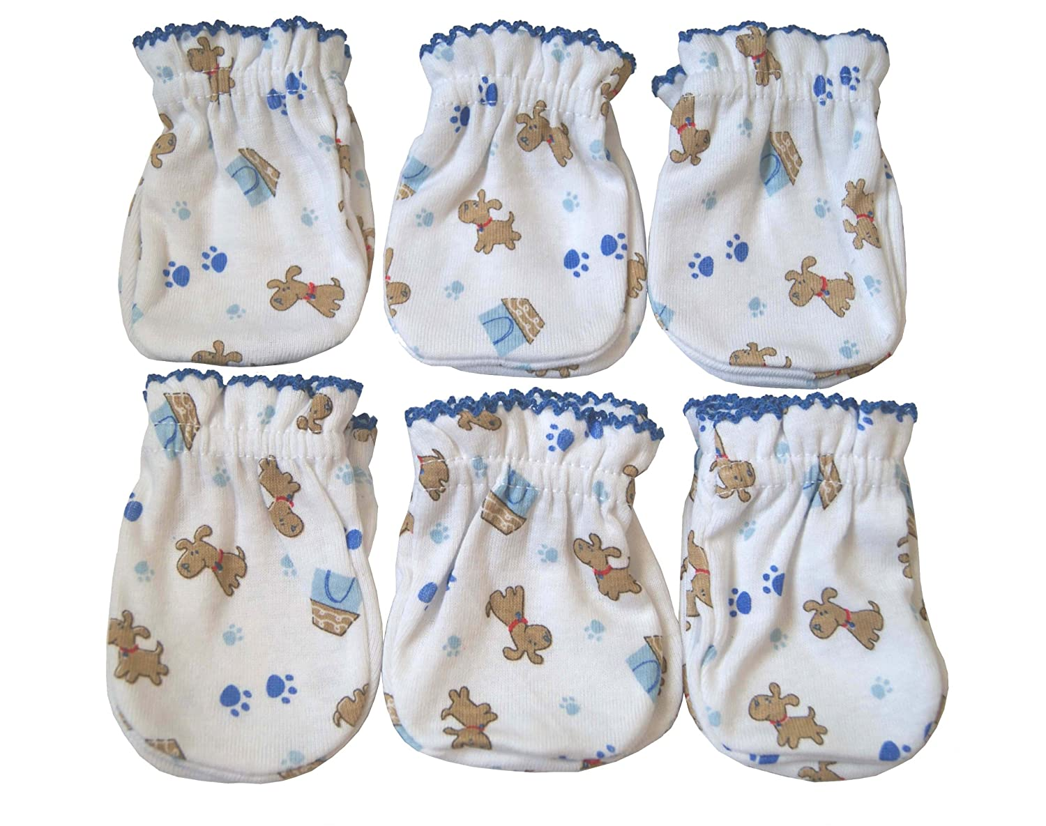 6 Pairs Cotton Newborn Baby/infant Boy No Scratch Mittens Gloves - Cute Little Dog Tamsmart